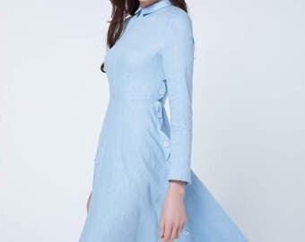 blue dress, linen dress, spring dress, prom dress, button dresses, knee length dress, party dress, evening dress, womens dresses, gift 1726