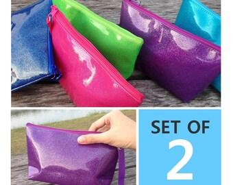 5.99 per bag | Set of 2 Glittery Bright Color PVC Vinyl Zipper Pouches | Cosmetic bag | Party bag | Gift bag | Reusable bag | Travel bag |