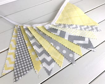 Bunting, Banner,Garland,Flags,Nursery Decor,Birthday Decoration,Photography Prop,Home Decor-Yellow,Grey,Gray,Chevron,Gingham,Dots