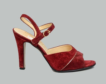 Vintage 70s Burgundy Heels - Suede Ankle Strap High Heels - Peep Toe Sandals - Disco High Heel Shoes - made in Italy - size US 7.5 - 8