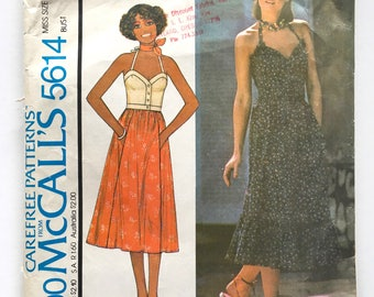 Vintage Sewing Pattern 70'sMcCall's 5614, Top, Skirt (XS/S)