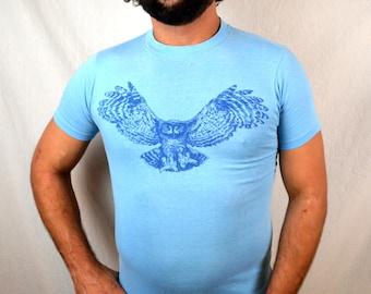 RARE Vintage 1977 70s Blue Owl Tshirt Tee Shirt