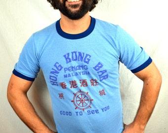 Vintage 1980s Hong Kong Bar Ringer Tee Shirt - Good to See You