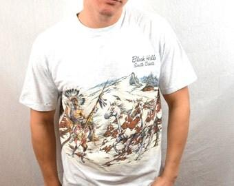 Vintage 90s 1994 Black Hills South Dakota Native American Indian Tshirt Tee Shirt