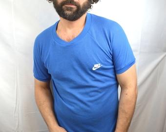 Vintage 80s Mesh Nike Tee Shirt Tshirt - Blue Tag