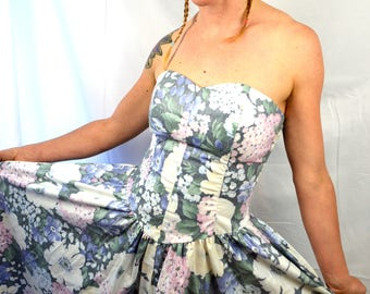 Vintage Moda Int'l Summer Floral Strapless Dress