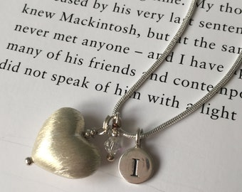 Sterling silver puffed heart, crystal and initial necklace