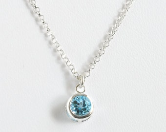 Sterling Silver Bezel Set Blue Topaz Necklace / Small Round Blue Topaz Pendant / December Birthstone Necklace / 16 inch / 18 inch/ 20 inch