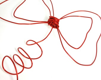 Whimsical Red Bow Tree Topper Decor - Red Christmas Tree Topper Bow - large , 1212V
