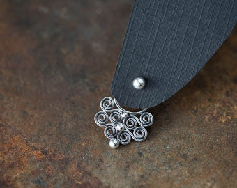 Unique Statement Earring SET, Bigger Handcrafted Sterling Silver Ear Jacket with simple dot studs, front back earring, gift for her