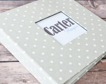 PRE-ORDER // Baby Book, Baby Gift, Baby Album, Baby Memory Book, Baby Keepsake, Modern Baby Book, Light Grey Mini Dots