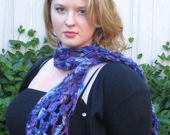Purple Scarf, Baby Alpaca, Crochet, SOFT