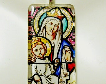 Our Lady of Mount Carmel stained glass window pendant with chain - GP01-059