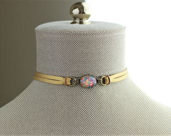 Fire Opal Leather Choker and/or Bracelet. Choose from 9 leather colors