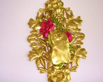 Cat Flower Gold Tone Brooch