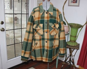 Woolrich Jacket Green Tan Mens L unisex VINTAGE by Plantdreaming