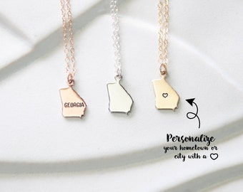 Small State Georgia Necklace, Personalized Georgia Pendant, Georgia State Jewelry with Heart/Star/Letter Stamped, Georgia Bracelet Gold