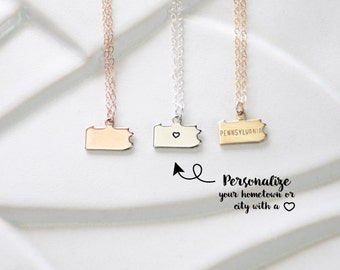 Rose Gold Pennsylvania United States Necklace, Personalized Pennsylvania Necklace Charm, Philadelphia, Pittsburgh, Simple State Bracelet