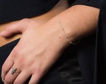 Gold Beaded Bracelet Chain, 14kt Gold Chain Bracelet, Satellite Chain, Elegant Thin Bracelet Everyday Chain, Layering Bracelet