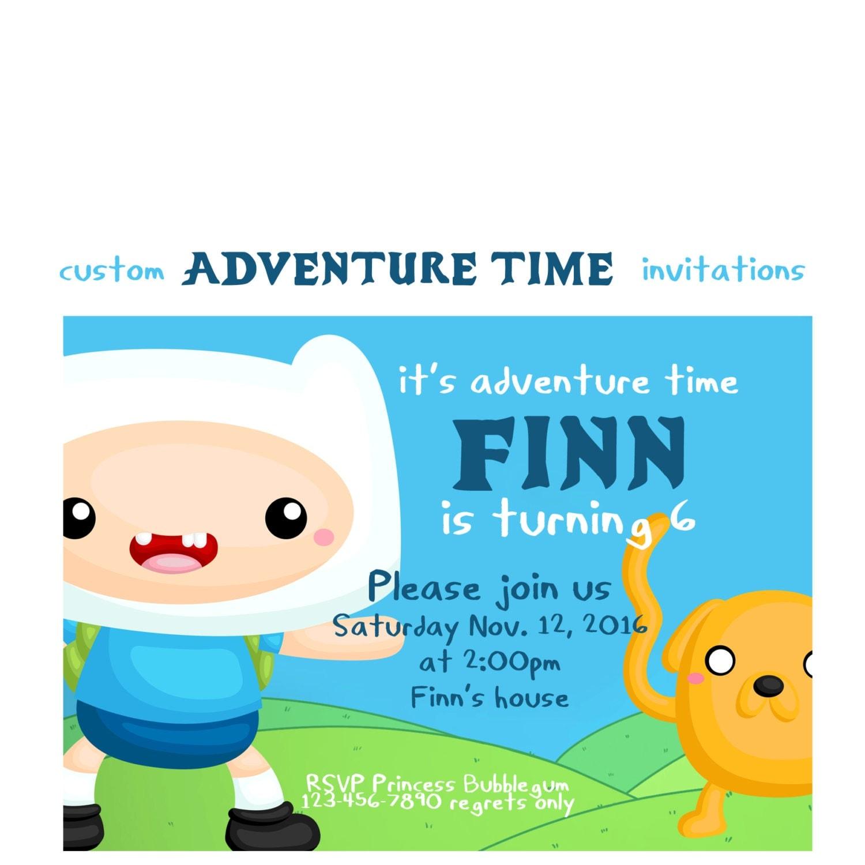Adventure Time Invitation Custom Adventure Time Birthday