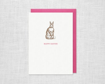 Letterpress Happy Easter Bunny Greeting Card