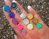 GLITTER Crystal Earrings, Stud Earrings, Faux Druzy Drusy Crystal, Flatback,Beach, Rainbow, Costume, Post Earrings, Rainbow, Unicorn, BOGO