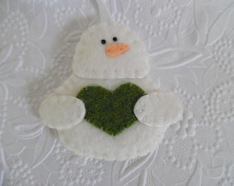 Felt Snowman Ornament Primitive  Christmas Penny Rug Felted Wool