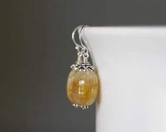 Citrine Earrings - Wire Wrapped Earrings Silver - Bali Silver Jewelry - Statement Earrings - Yellow Gemstone Earrings - November Birthstone