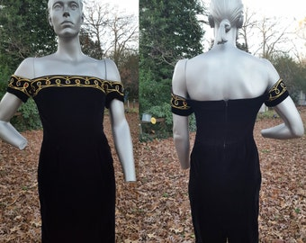 Sale 30% OFF Off the Shoulder Dress, 80s Cocktail Dress, 80s Prom Dress, 80s Dress, Black Dress, Vintage Dress by Stenay Size 4-6