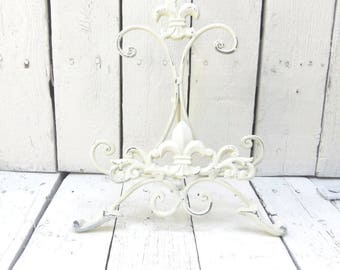 White Easel, Book Stand, Art Prop, Shabby and Chic, Fleur De Lis Decor, Parisian Cottage Chic, French Cottage Decor, Small Metal Easel