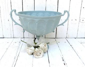 Centerpiece Bowl, Blue Bowl, Metal Bowl, Serving Piece, Blue Decor, Handled Bowl, Home Decor Bowl, Shabby and Chic, Cottage Kitchen Decor