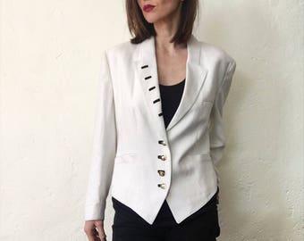 Louis Feraud designer white Nautical jacket cropped blazer 14