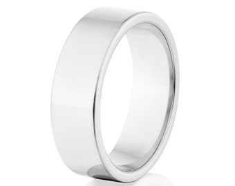 Cobalt Rings, Cobalt Promise Bands, Mirror Cobalt Wedding Ring USA Made Cobalt Ring : COB-7F-P