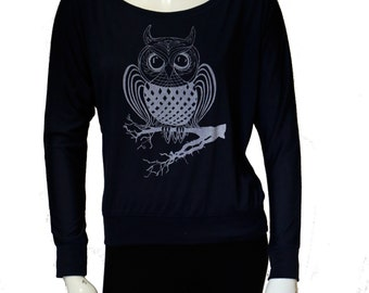 OWL | Long-Sleeve Off Shoulder Tops | Soft - Lightweight