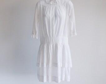 Edwardian, Simple Cotton Dress - Sz M