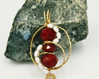 Red Czech Glass and Freshwater Pearl Pendant in 14k GF