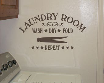 Laundry Room decal, Wash Dry Fold Repeat quote, Clothespin wall art, Laundry door decal, Utility Room, Laundromat sticker, vinyl lettering