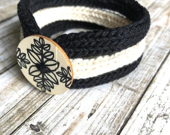 Knitted Bracelet with Wooden Button