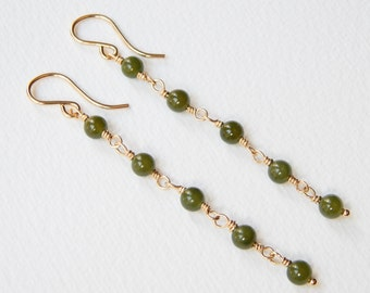 Nephrite Jade Earrings - Gold Filled Long Beaded Earrings Beadwork Earrings Dangle Earrings Greenery Jade Bead Earrings