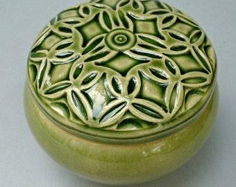 Lidded  Jar  Hand Carved Stoneware clay Art Deco  Green Flower Design Jewelry Box