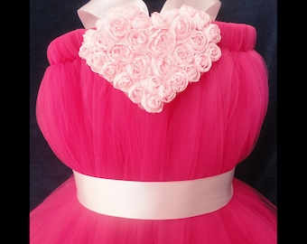 Little Girls Pink Valentines Dress, Flower Girl Dress, Valentines Day, Heart Dress, Toddler Girls, Baby Girls, Flowergirl Dress, Tutu Dress