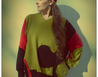 Upcycled Cashmere Merino Sweater Lime Green Red Black Jigsaw Jumper                      ReMade in England UK