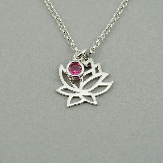 Gemstone Lotus Flower Necklace - sterling silver jewelry,  yoga, birthstone