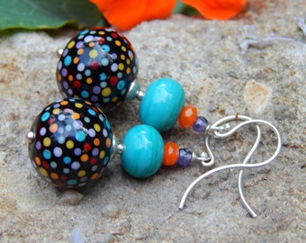 Confetti Black Earrings - Artist-Made Lampwork Glass Beads w Czech Glass & Argentium French Ear Wires