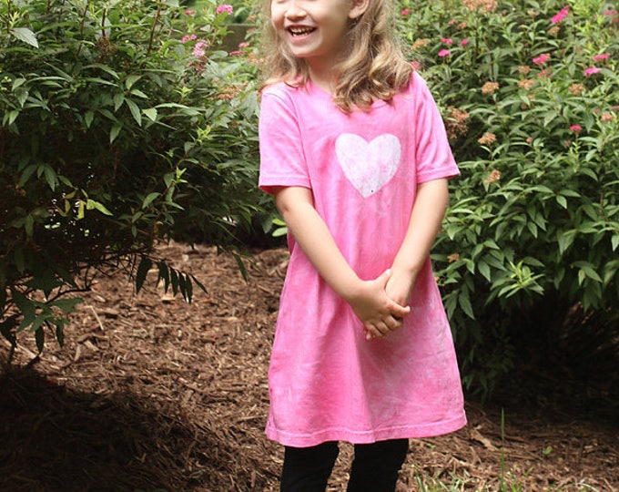Featured listing image: Pink Girls Dress, Pink Heart Dress, Batik Girls Dress, Girls Heart Dress, Girls Summer Dress, Flower Girl Dress, Short Sleeve Dress (6) SALE
