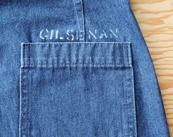 Vintage Seafarer Dungarees U.S. Navy Sailor Pant Jeans | 70s Style Flare Bellbottom with Stencil on Indigo Denim | 35 x 32 | Free Shipping