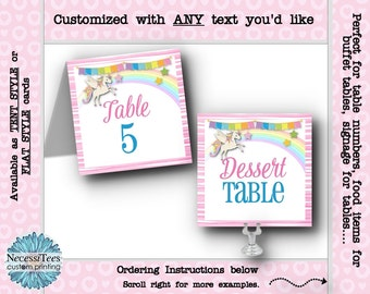 Table Number Cards, Buffet Table Cards, Unicorn, Rainbow, Pastel Colors, Pink Stripes, Baby Shower, Birthday Party