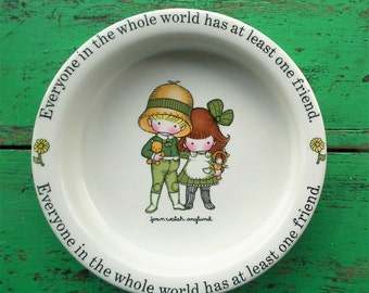 Vintage 1970s Nursery Ware Baby Bowl Joan Walsh Anglund Johnson Bros England Retro Children's Pottery Dish Unisex Boy Girl 60s style art
