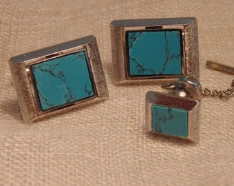 Vintage Sterling Turquoise Cuff Links Tie Tac Set Sterling Cuff Links Mens Cuff Links Cufflinks Retro Cuff Links Silver 850