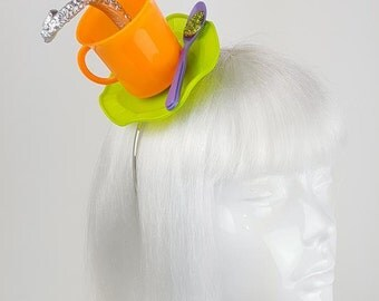 Quirky fascinator orange cup silver tentacle headband gothic headwear nautical halloween kitsch kawaii